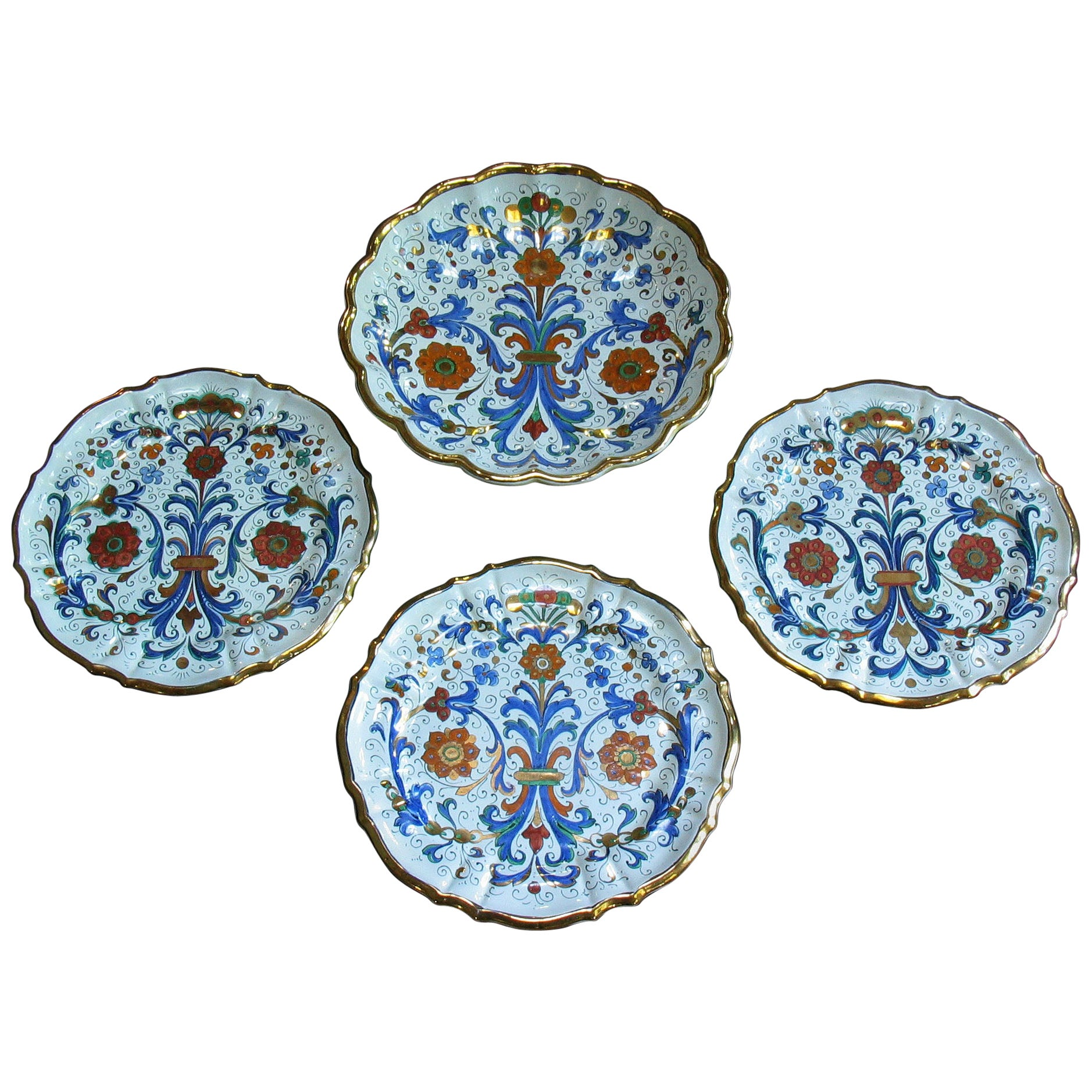 Set of Four Italian Molded Deruta Majolica Dishes, 20th Century