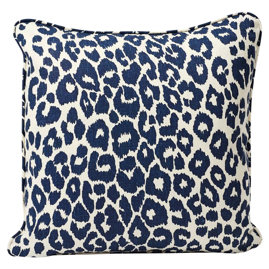 Schumacher Iconic Leopard Animal Print Ink Blue Two-Sided Linen Pillow