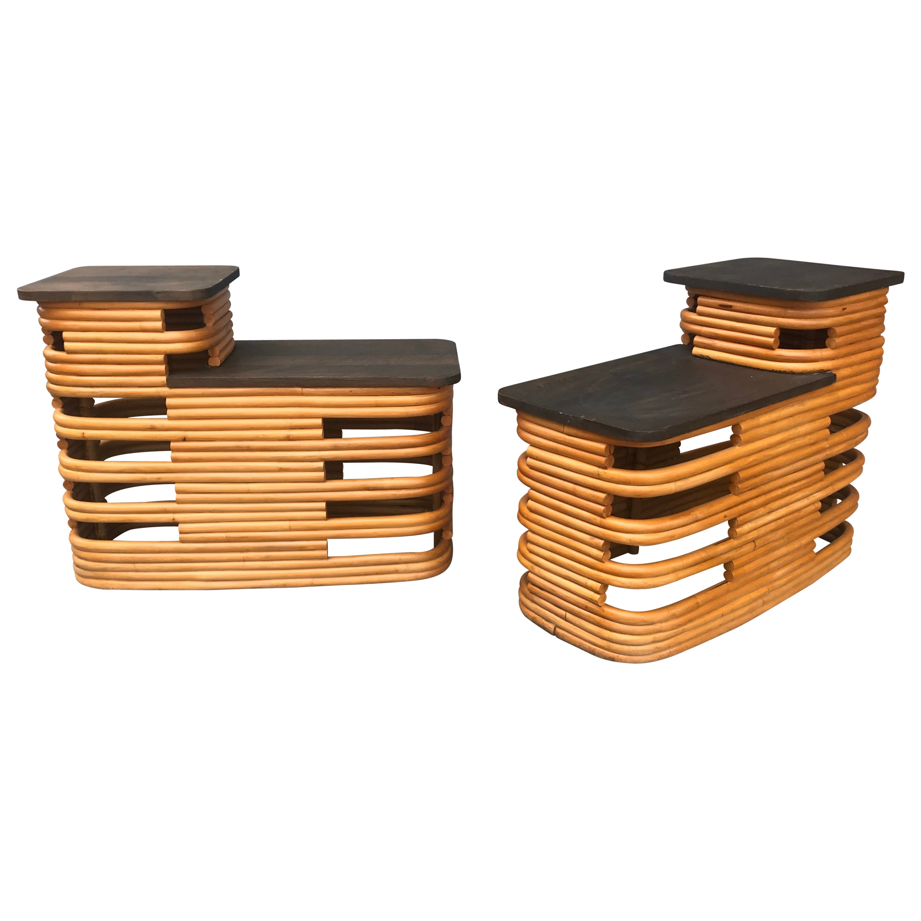 Classic 1940s Paul Frankl Rattan /Bamboo Step End Tables, Art Deco Design