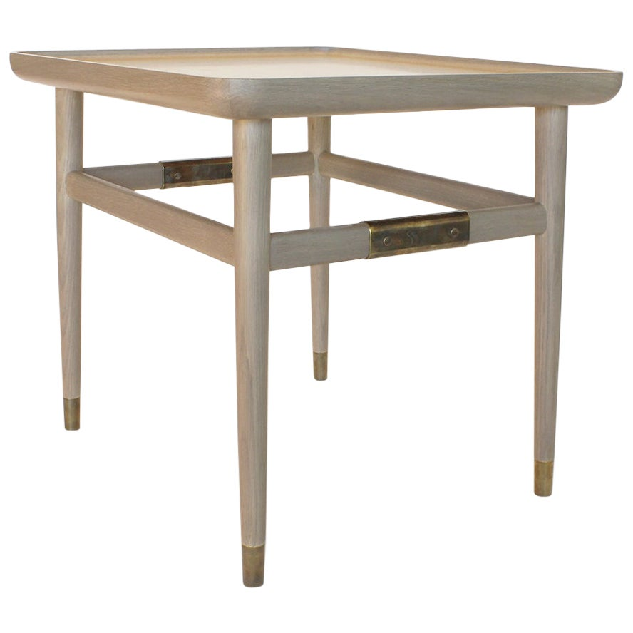 Oslo Rectangular Side Table in Oak with Antique Brass Fittings