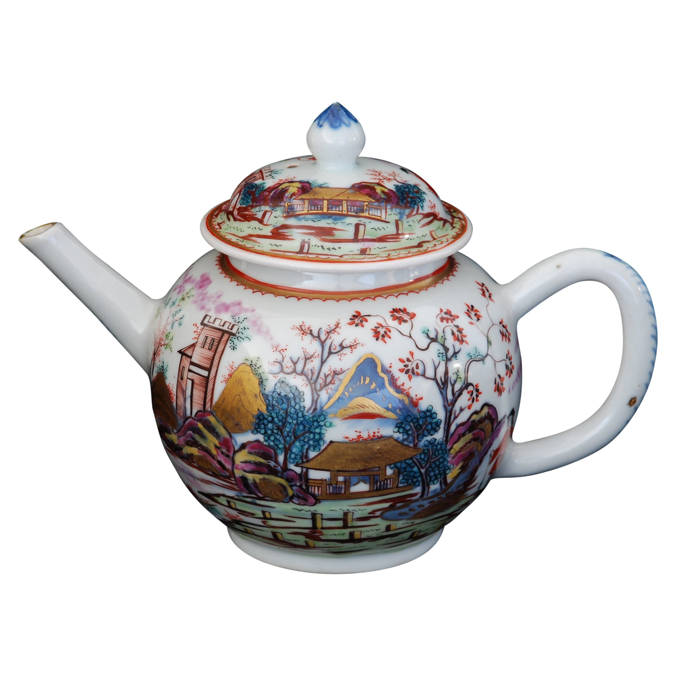 Teapot, Red Coat Pattern, China, circa 1740, Decorated in London by Giles