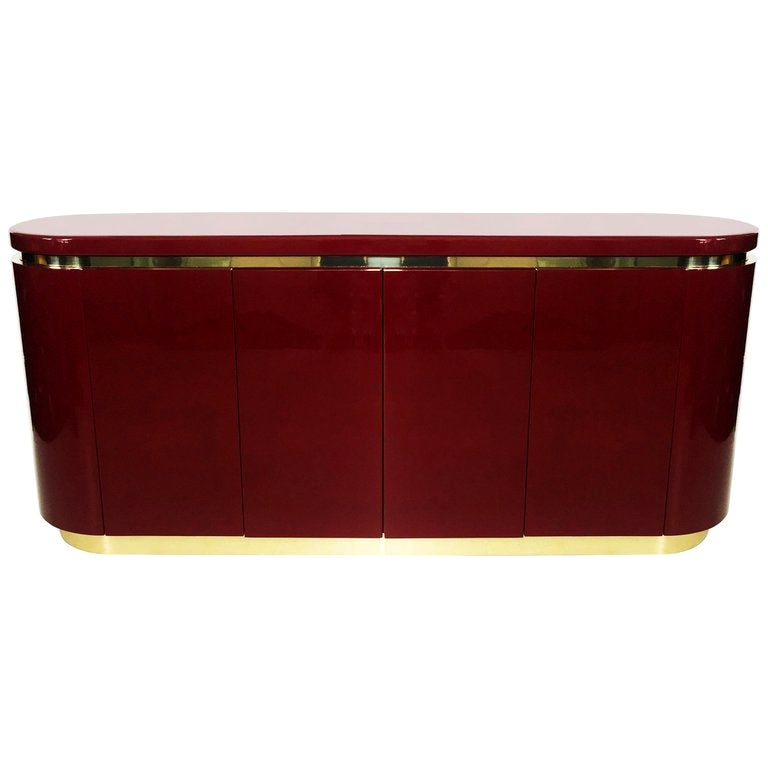 Cranberry Lacquered and Brass Sideboard / Credenza by Mastercraft