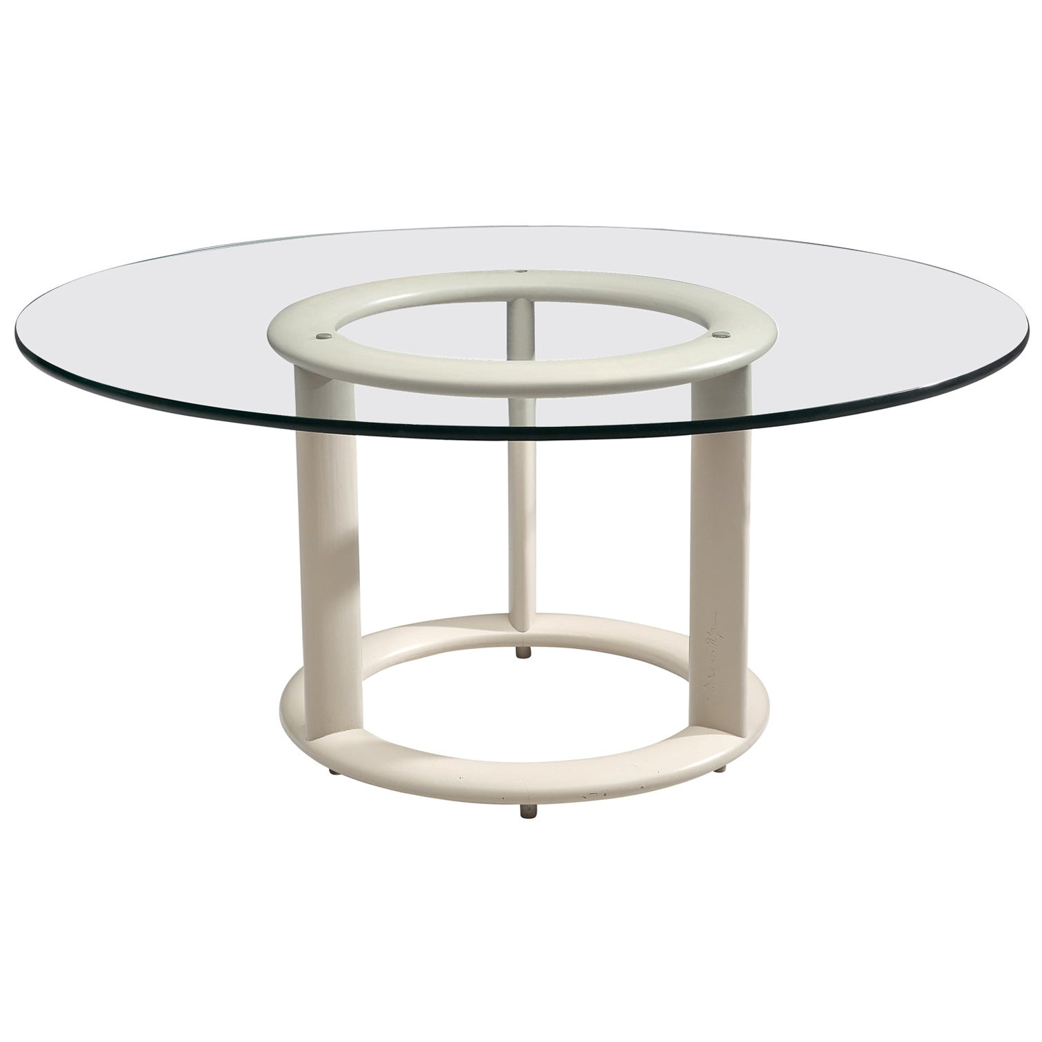 German Postmodern Round Dining Table with Glass Top