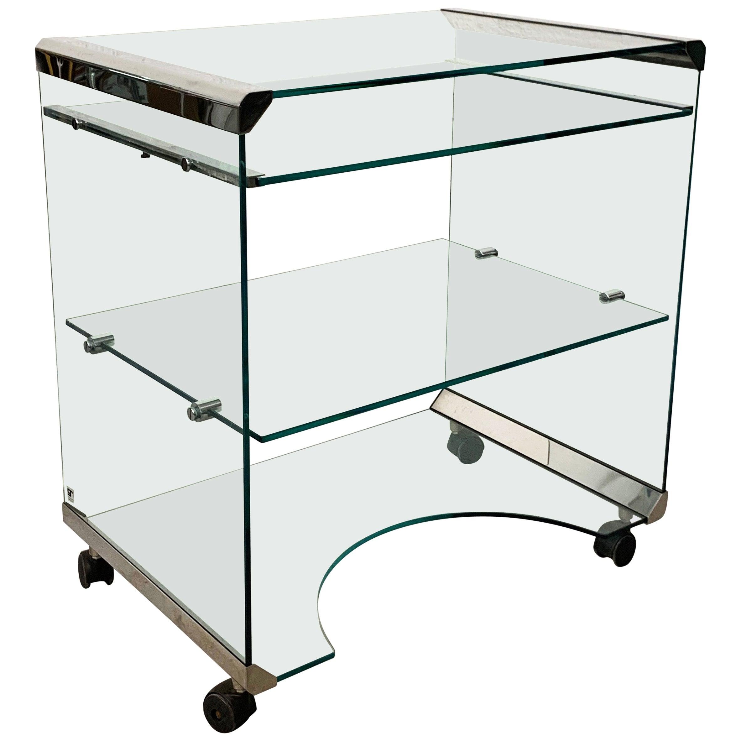 Aquamarine Glass Desk by Gallotti & Radice Italia 1970s Bar Cart