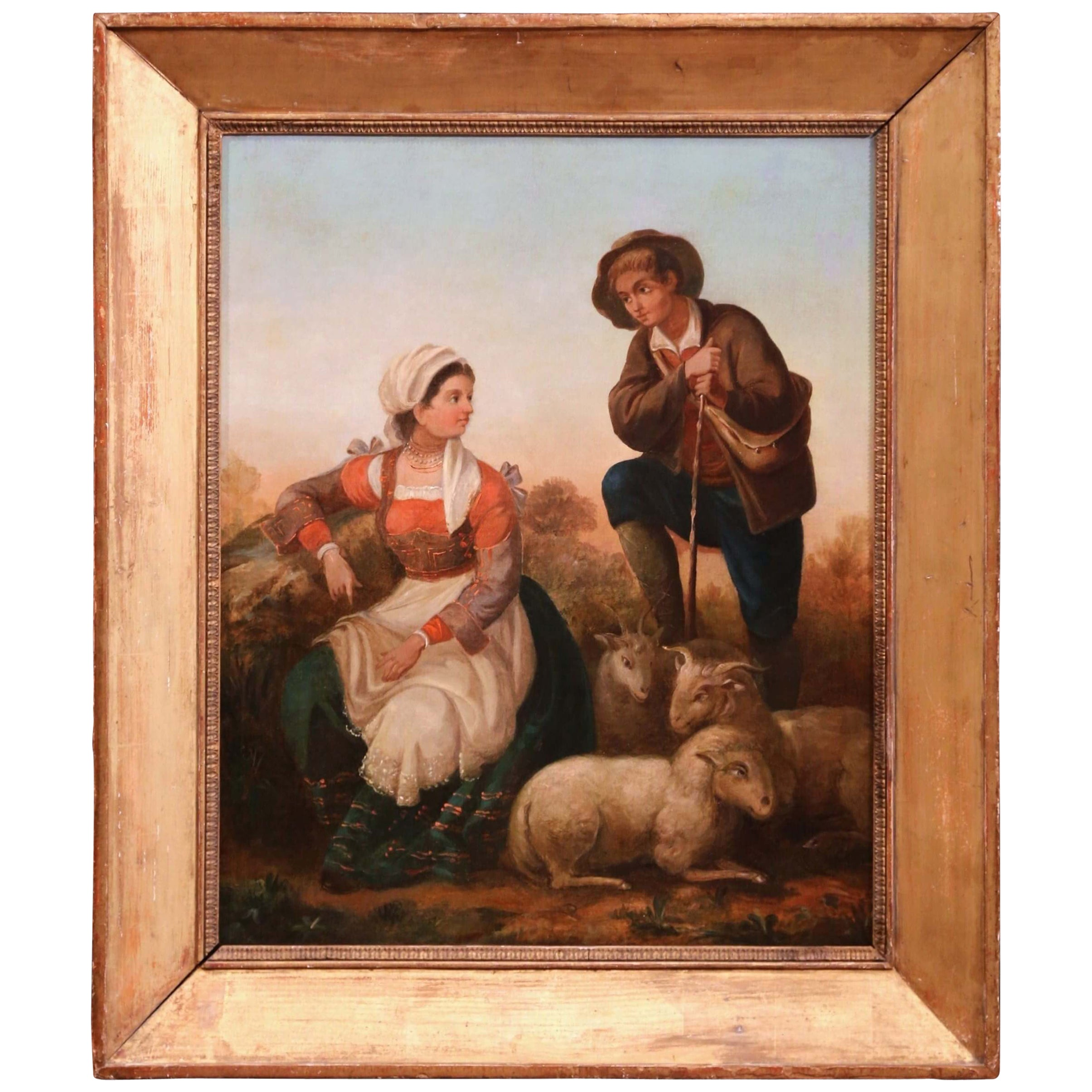 19th Century French Shepherds and Sheep Oil on Canvas Painting in Gilt Frame