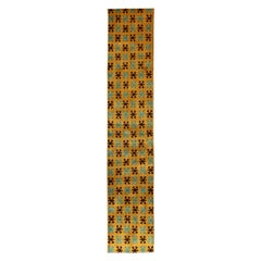 Long Runner with Mid-Century Modern Design in Yellow, Turquoise and Black