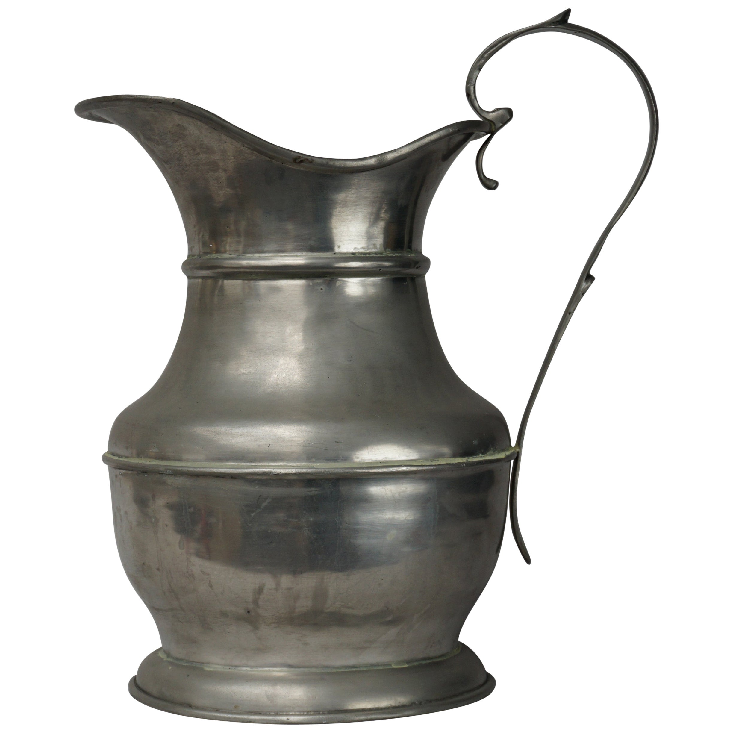 Exceptionally Large 19th Century Dutch Tin Water Ewer, Pitcher or Jug