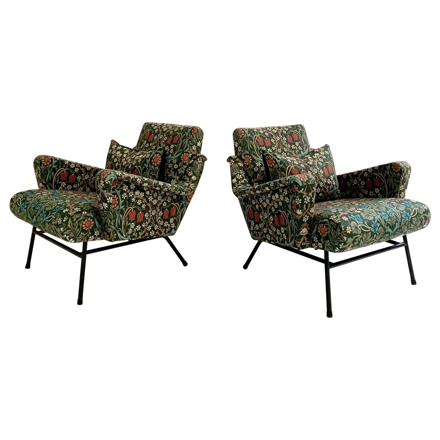 Midcentury French Lounge Chairs in William Morris Blackthorn, Pair