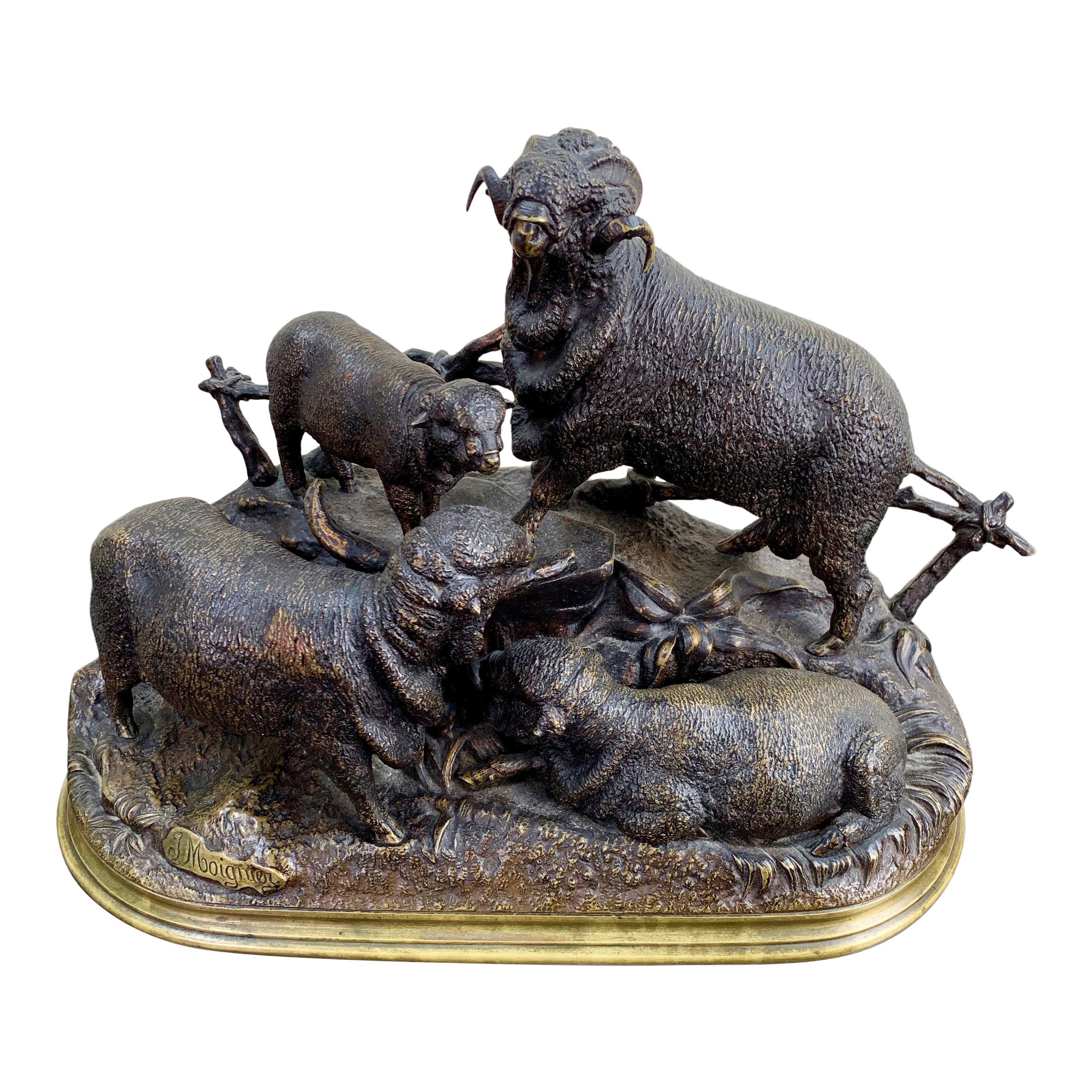 Jules Moigniez Bronze Sculpture of Three Sheep and a Lamb