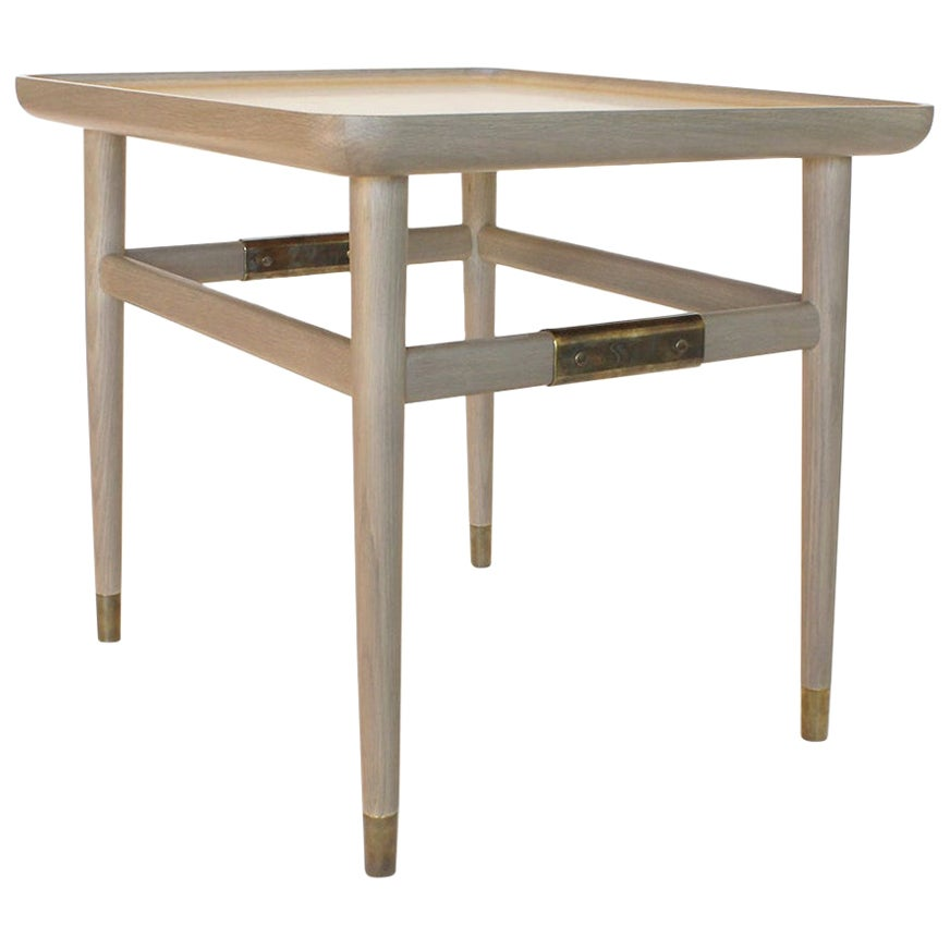 Oslo Rectangular Side Table in Bleached Oak with Antique Brass Fittings