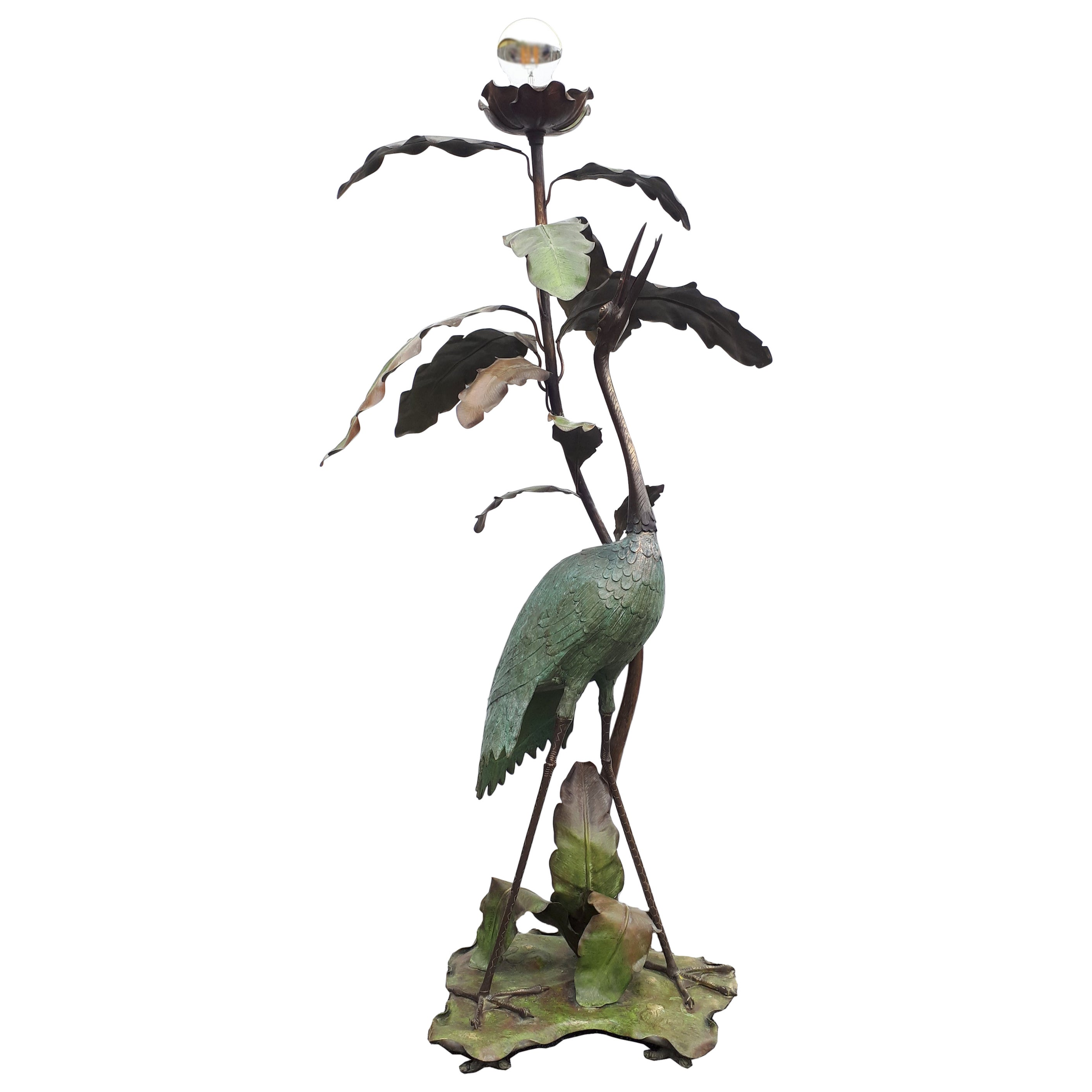 Art Nouveau Heron Bird and Leaves Floor Lamp, Early 20th Century