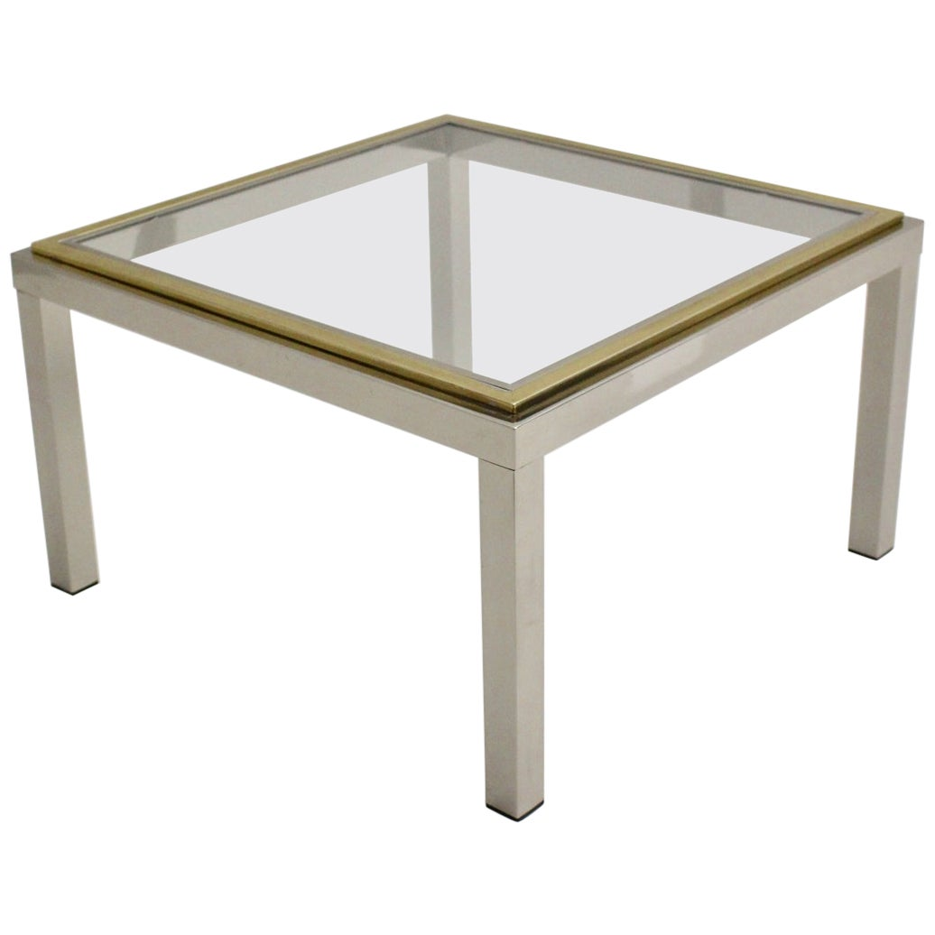Hollywood Regency Chromed Metal Gilt Metal Vintage Coffee Table Willy Rizzo Attr