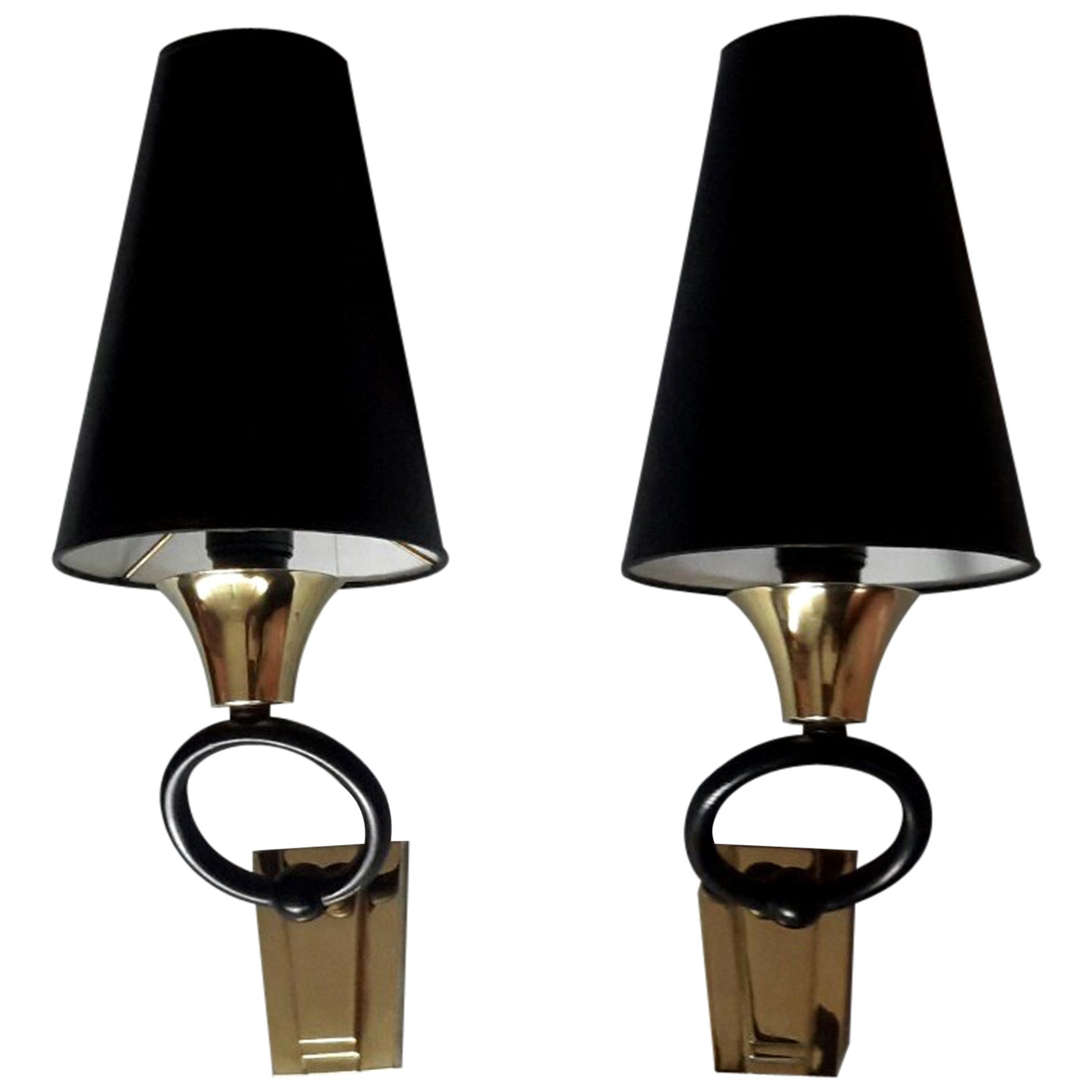 Pair of Neoclassical Sconces, Maison Jansen Style, France, 1950s