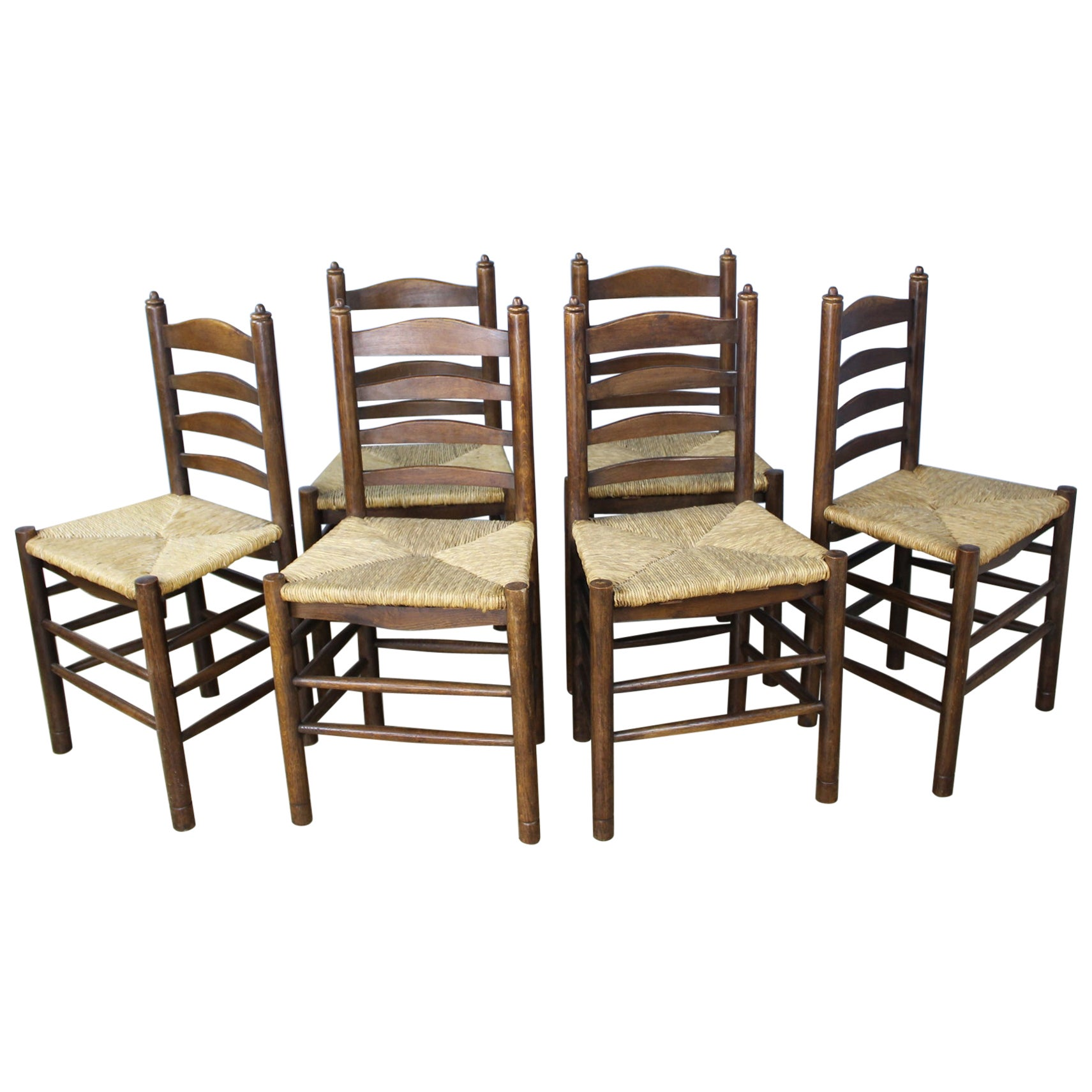 Set of Six Antique Oak Church Chairs