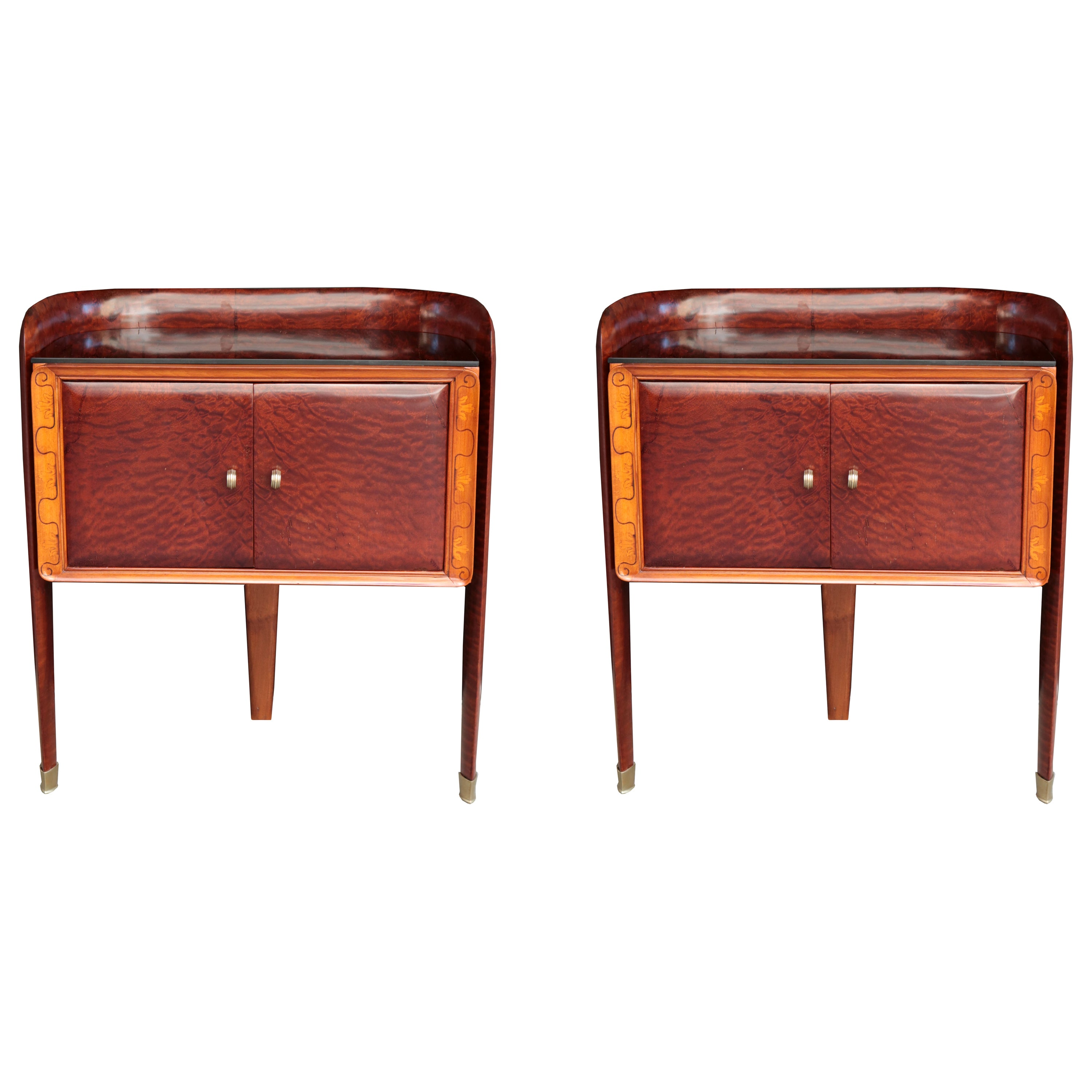 Pair of Small Italian Bedside Cabinets