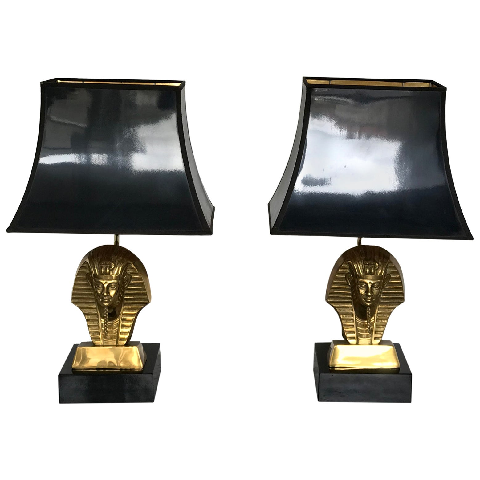 HOLLYWOOD REGENCY Pair of Pharaoh Table Lamps, 1960s