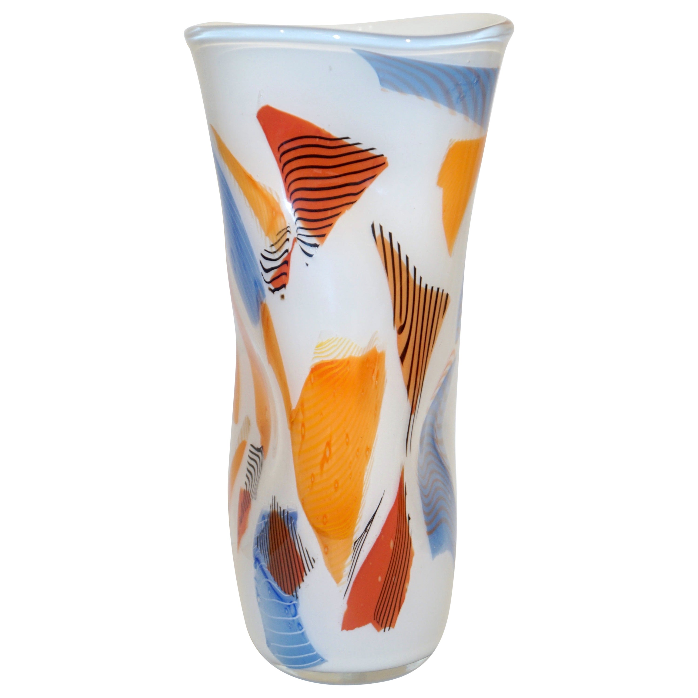 Davide Donà Italian Large Free-Form White Orange Red Blue Murano Art Glass Vase