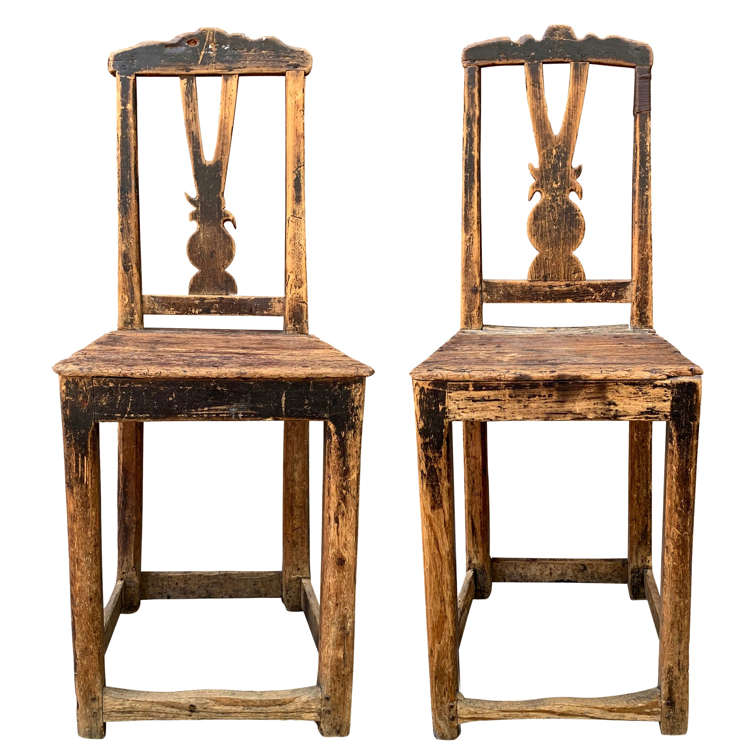 Pair of 17th Century Danish Baroque Side Chairs
