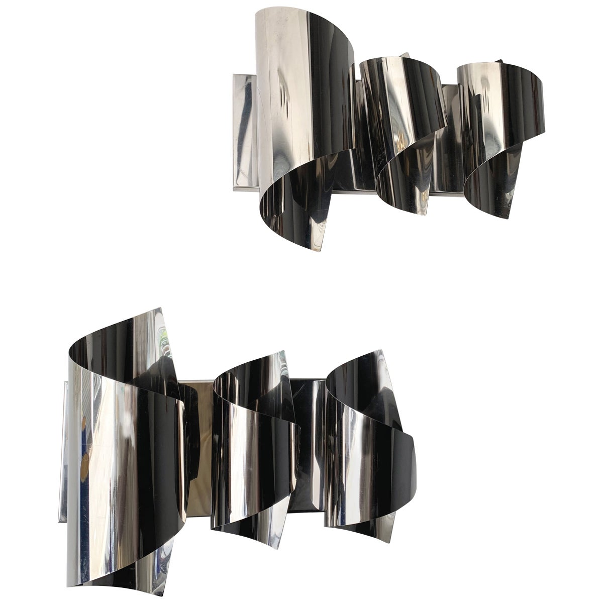 Pair of Spiral Metal Chrome Sconces by Reggiani. Italy, 1970s