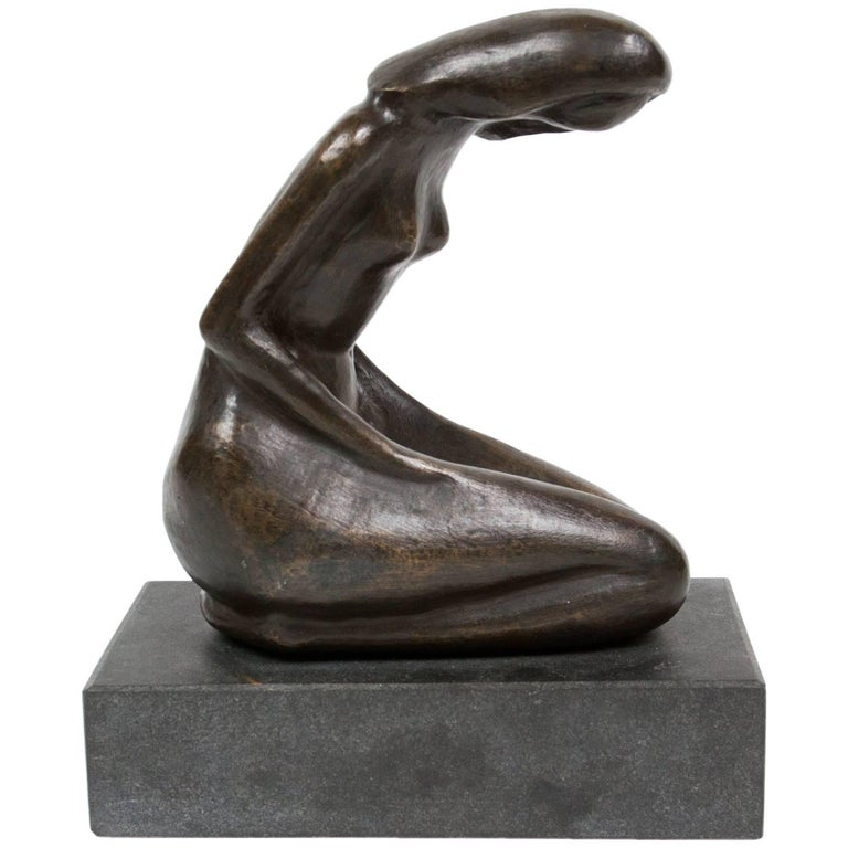 Bronze Sculpture Representing a Kneeling Woman