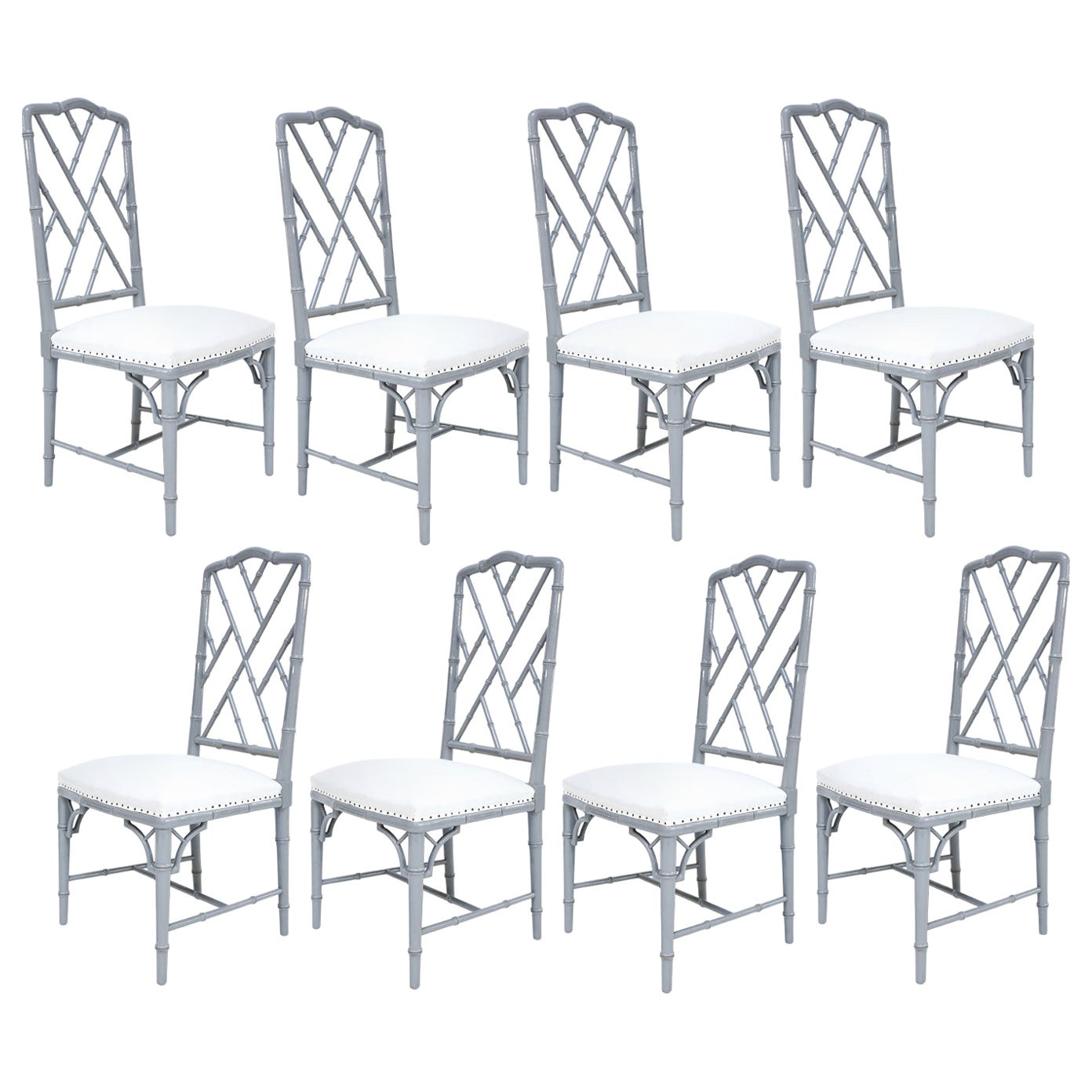 Set of Eight-Light Gray Lacquered Dining Chairs