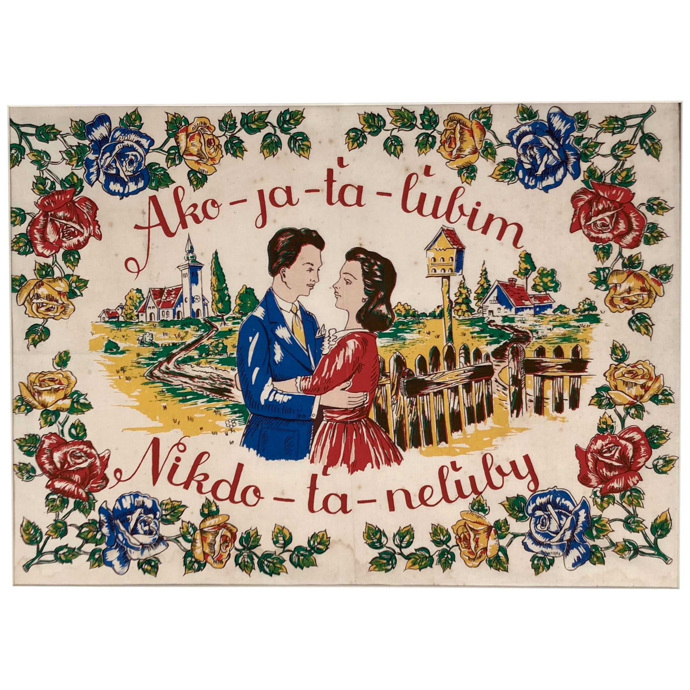 1940s Hand Colored Block Print on Textile