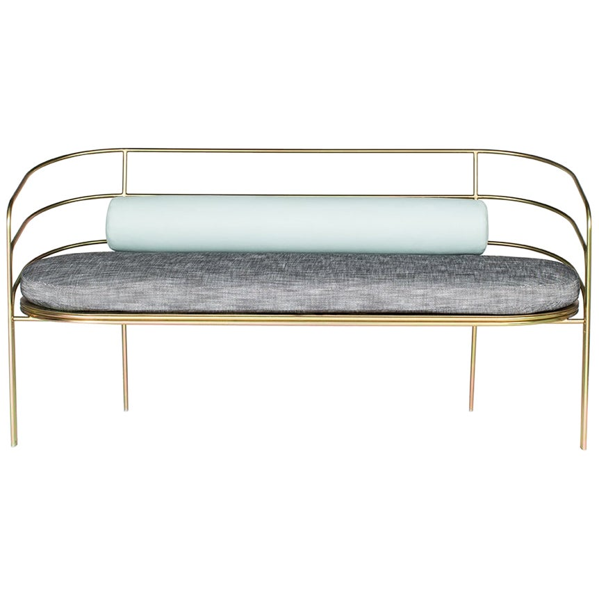 DeMille, Indoor/Outdoor Yellow Zinc-Plated Stainless Steel Sofa by Laun