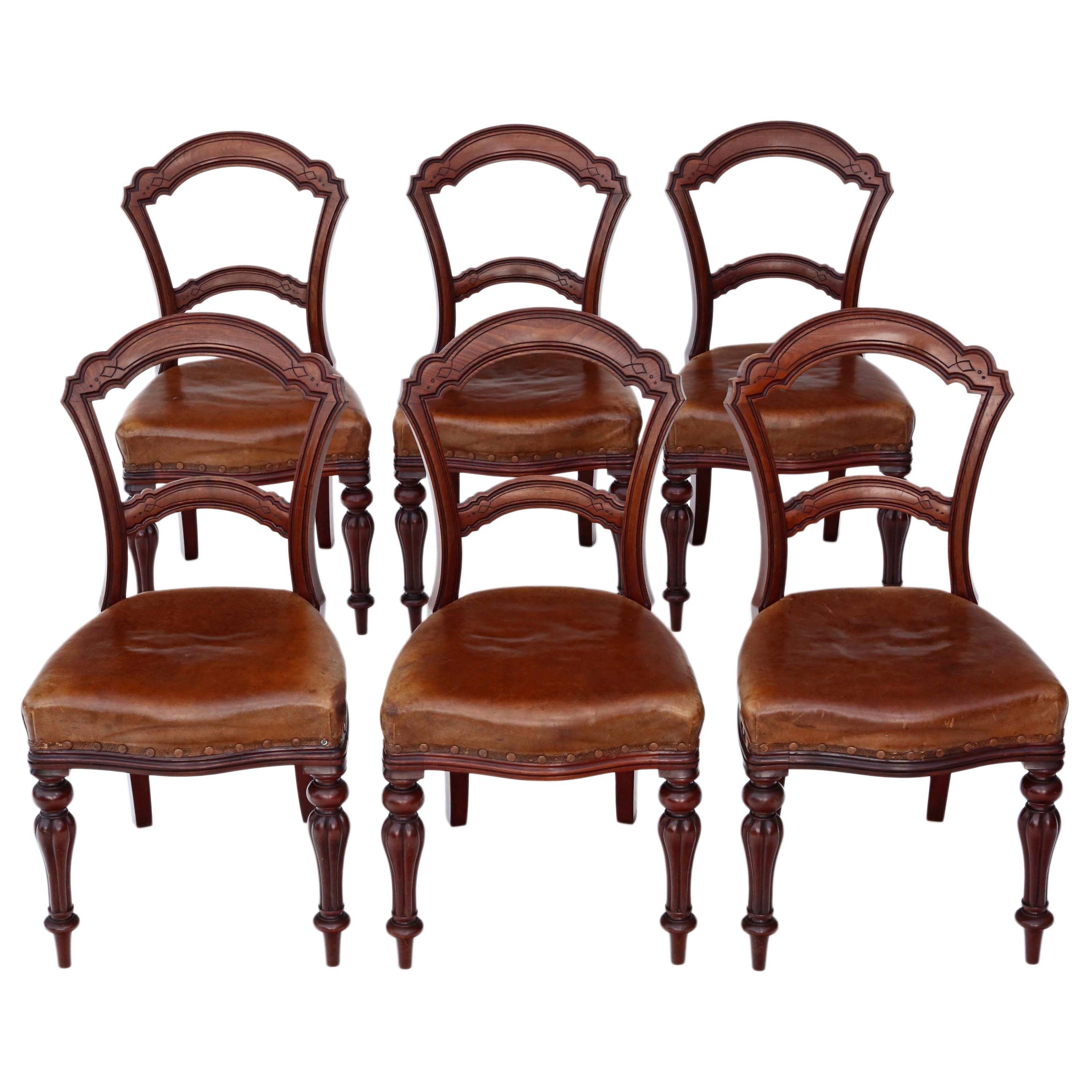 Set of 6 Victorian Walnut Leather Balloon Back Dining Chairs