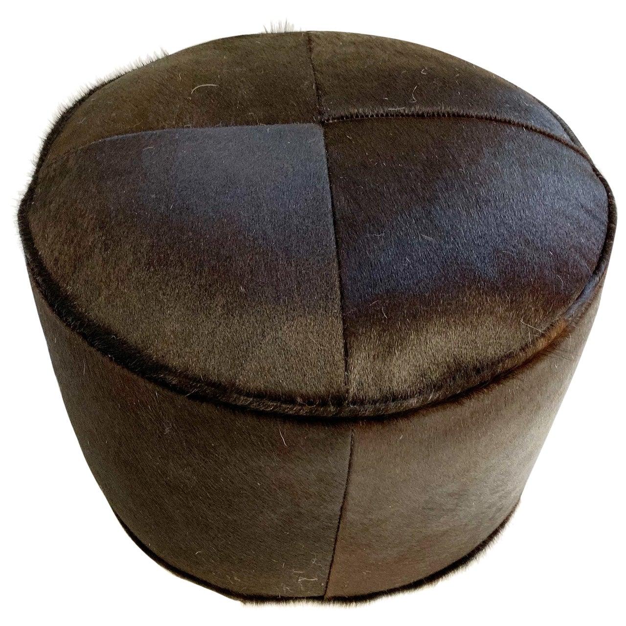 Black Cowhide Pouf Ottoman