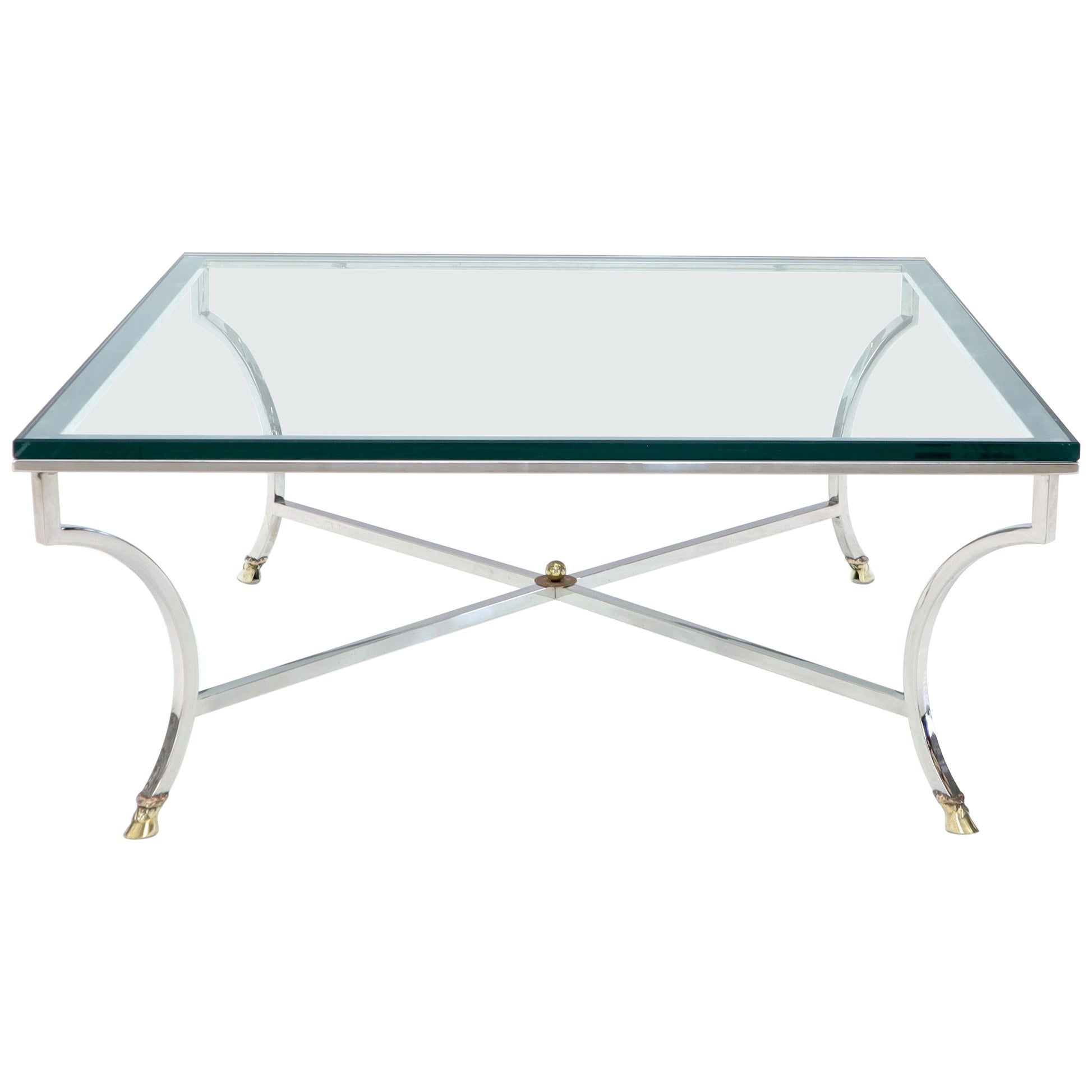 Square Chrome and Brass Hoof Feet Base Coffee Table Thick Glass Top