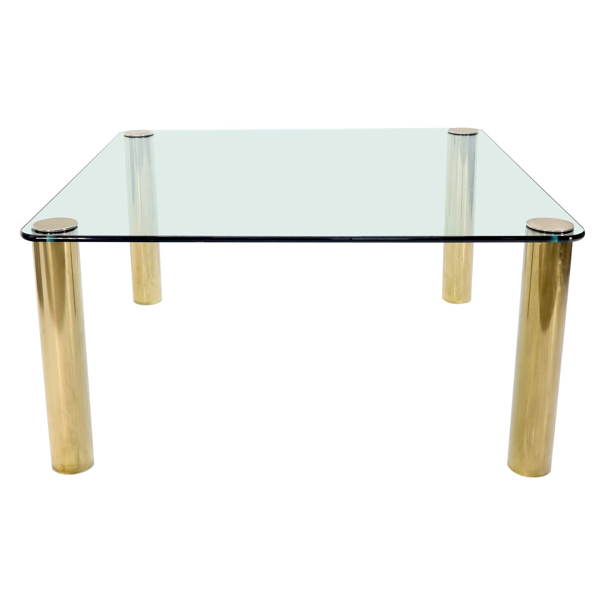 Large Square Thick Glass Top Dining Table on Brass Cylinder Legs