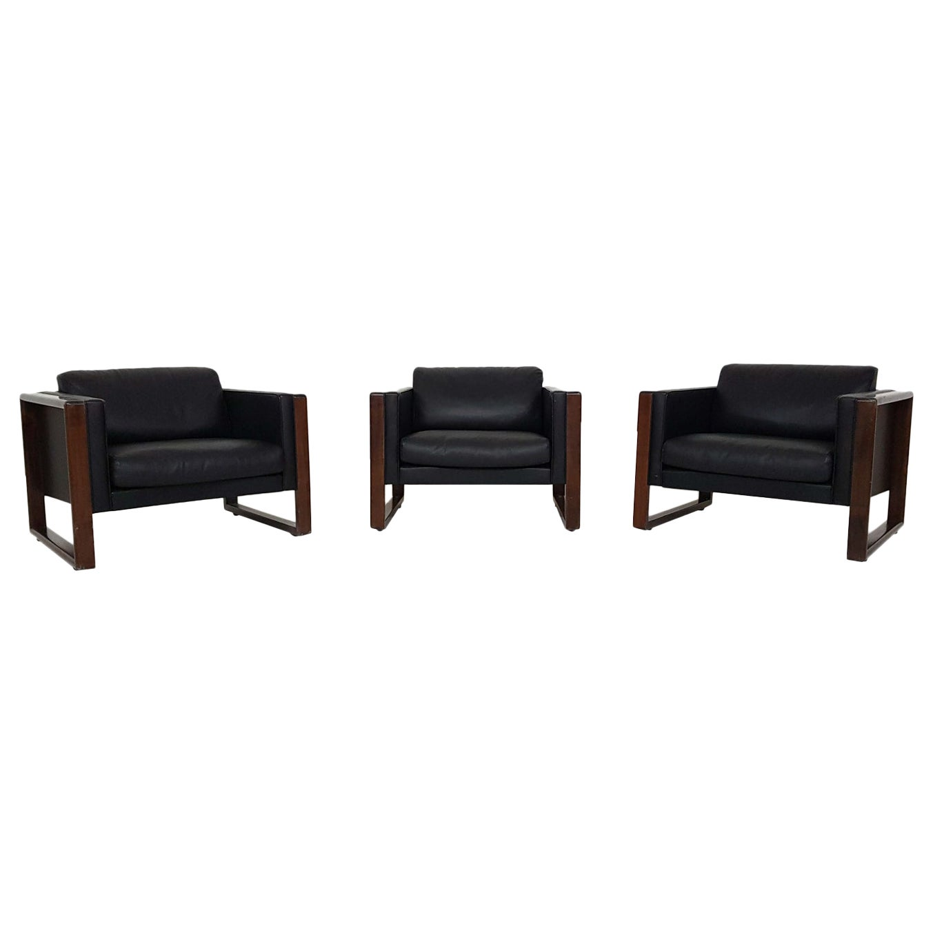 Set of 3 Black Leather Walter Knoll Lounge or Club Chairs, Germany, 1960s