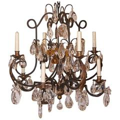 Wrought Iron and Crystals Chandelier