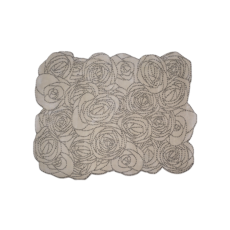Rosetum Bouquet Carpet, Hand Knotted in Wool, 100 Knots, Bartoli Design