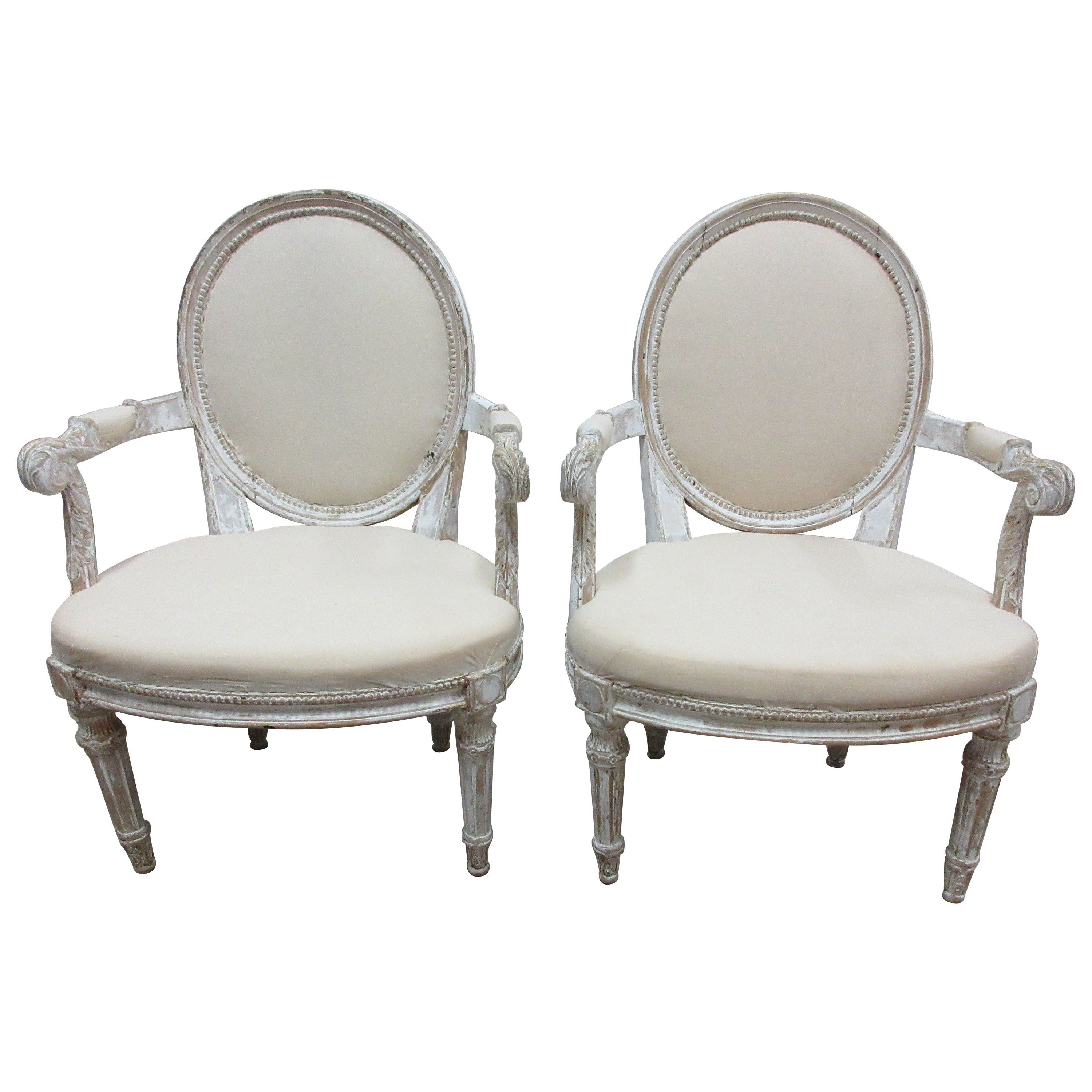 Original Painted Swedish Gustavian Armchairs