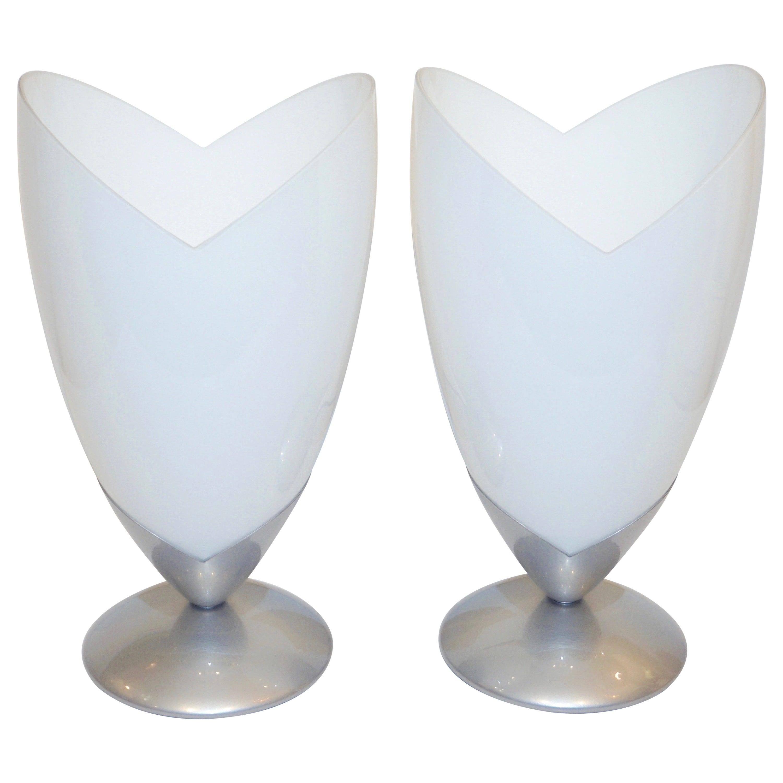 1970s Italian Pair of Satin Nickel & White Glass Organic Tulip Lamps by Tronconi