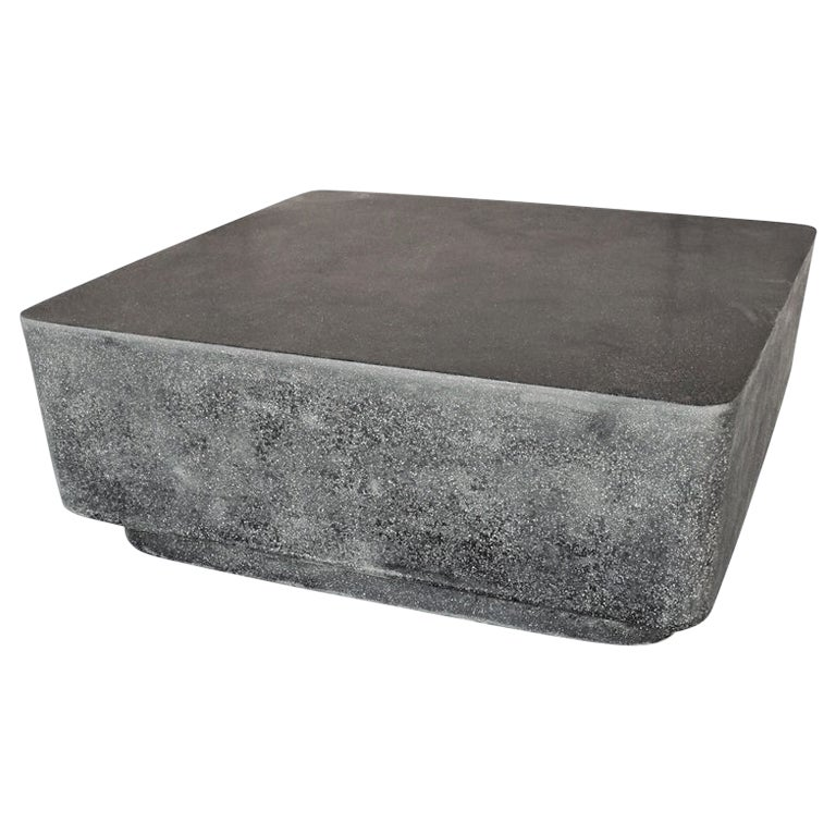 Cast Resin 'Block' Cocktail Table, Coal Stone Finish by Zachary A. Design