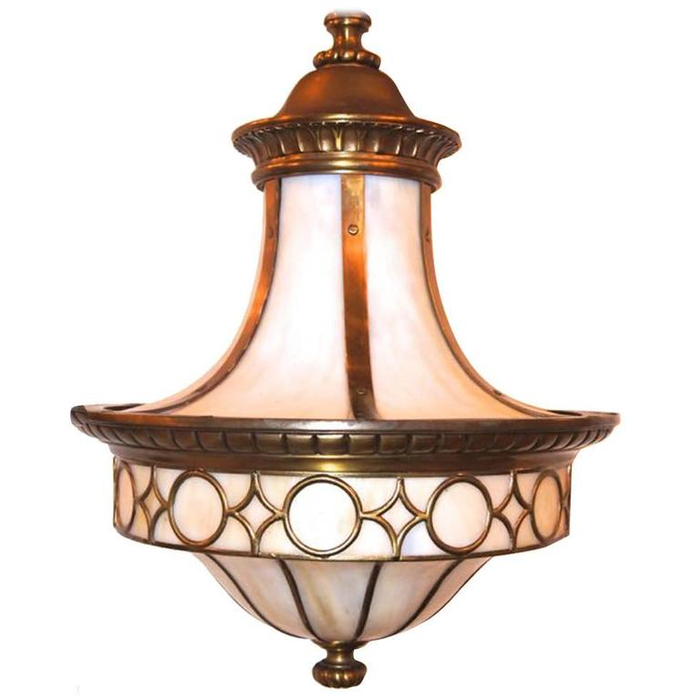 Leaded Glass Lantern Light Fixture For Sale