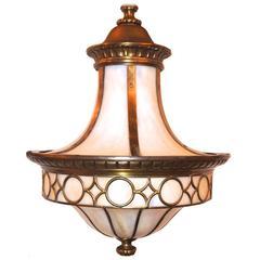 Leaded Glass Lantern Light Fixture