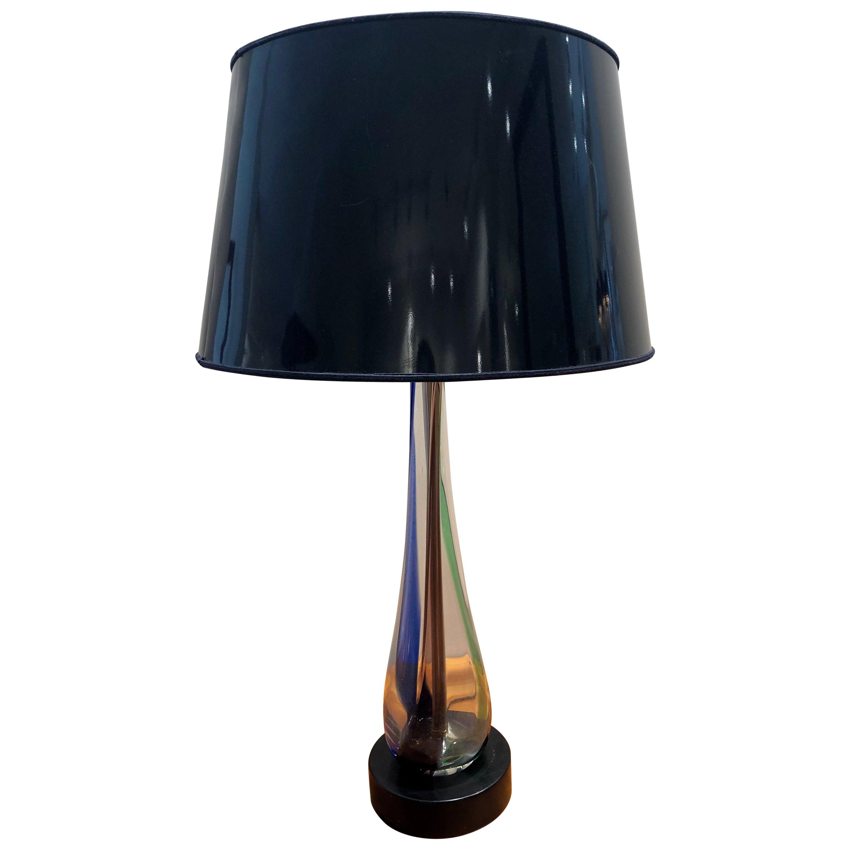 Murano 1960s Italian Multicolored Hand Blown Glass Table Lamp
