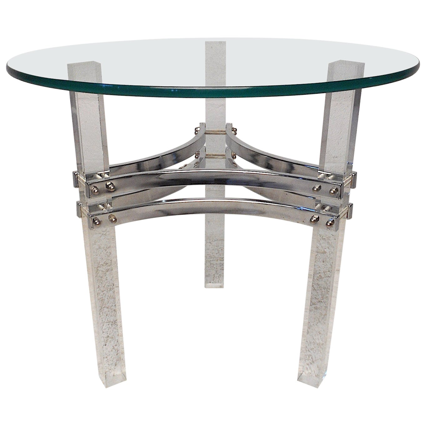 Charles Hollis Jones Lucite, Chrome and Glass End Table