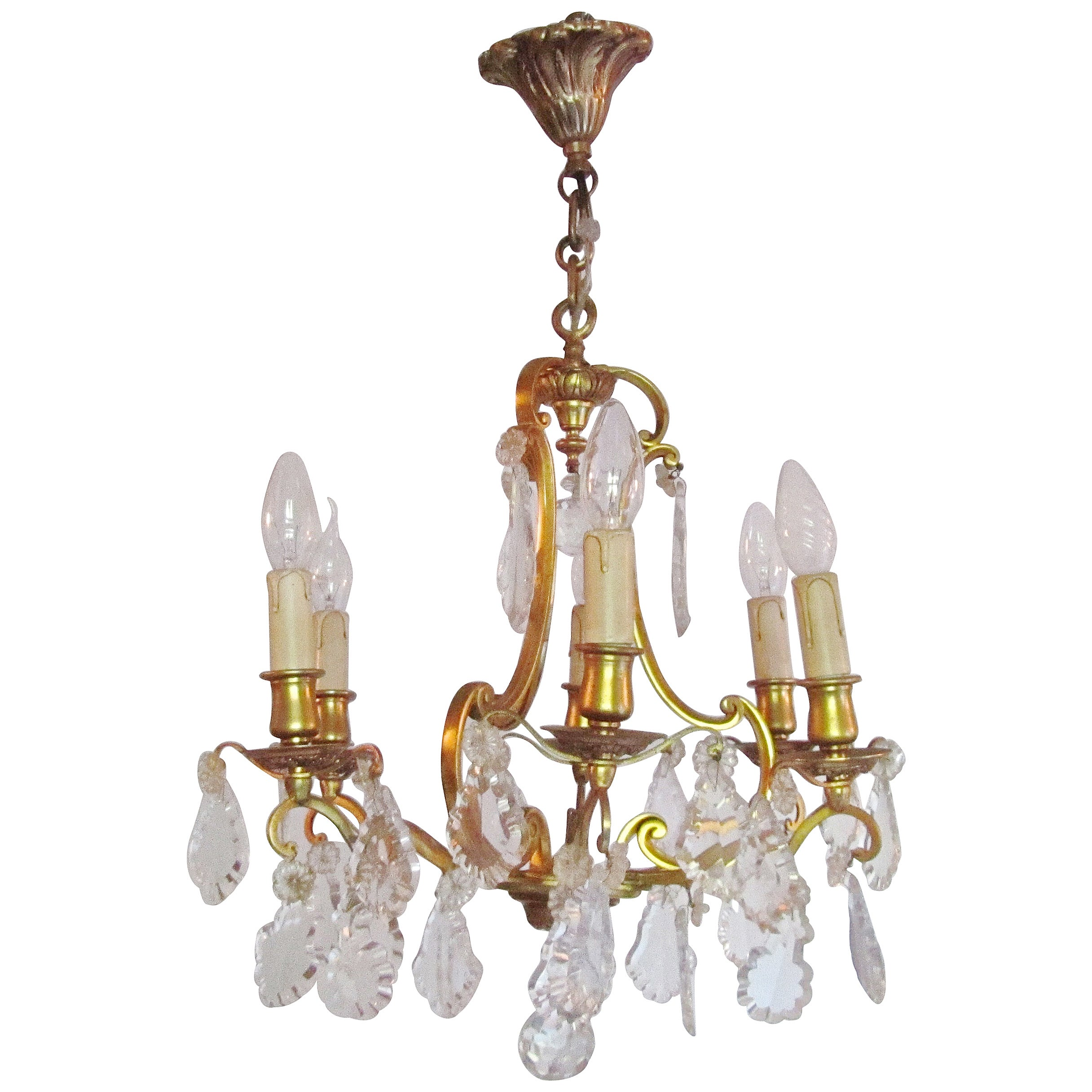 Charming French Cut Glass and Brass 6 Branch Chandelier