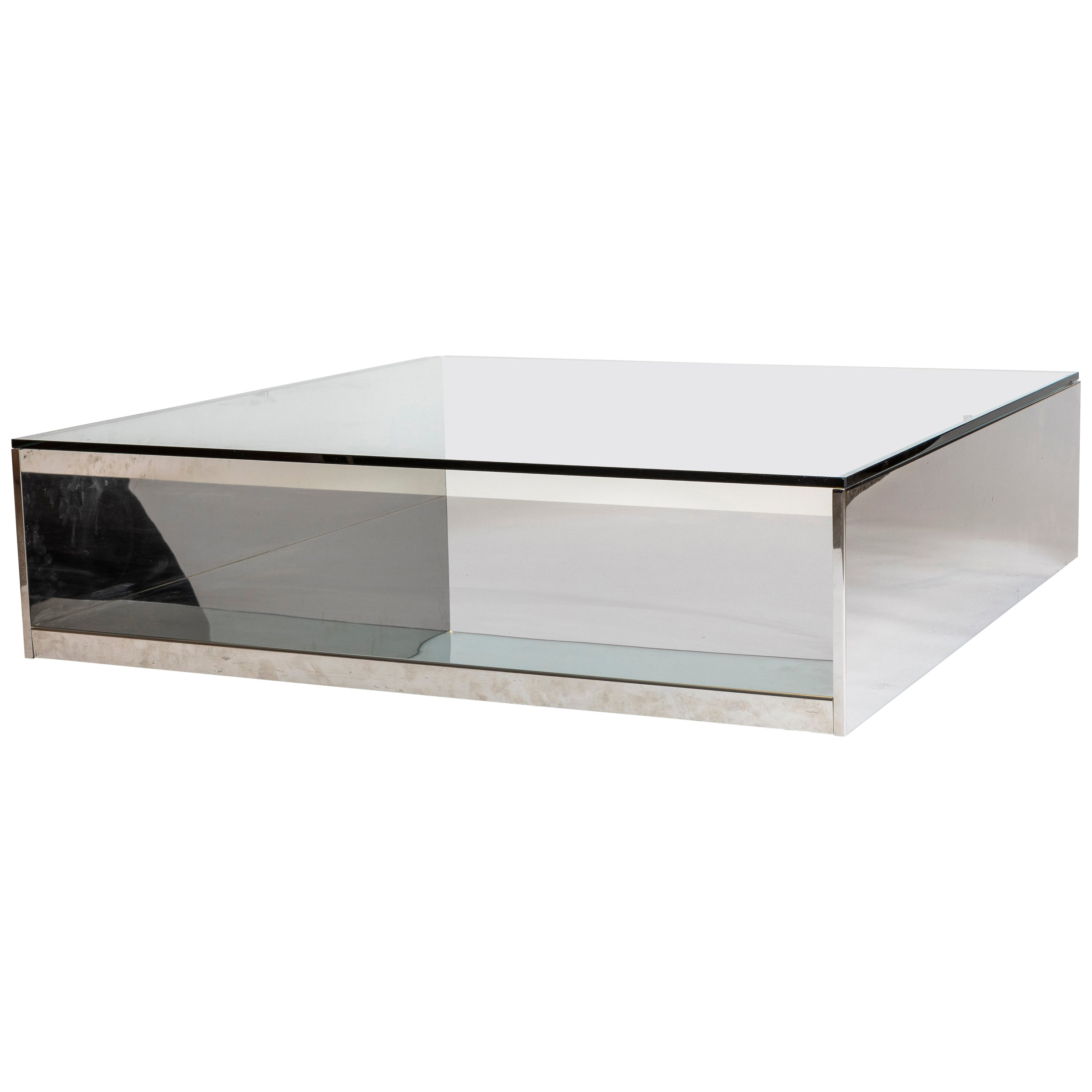 1970s Saporiti Embossed Chrome Coffee Table with Glass Top