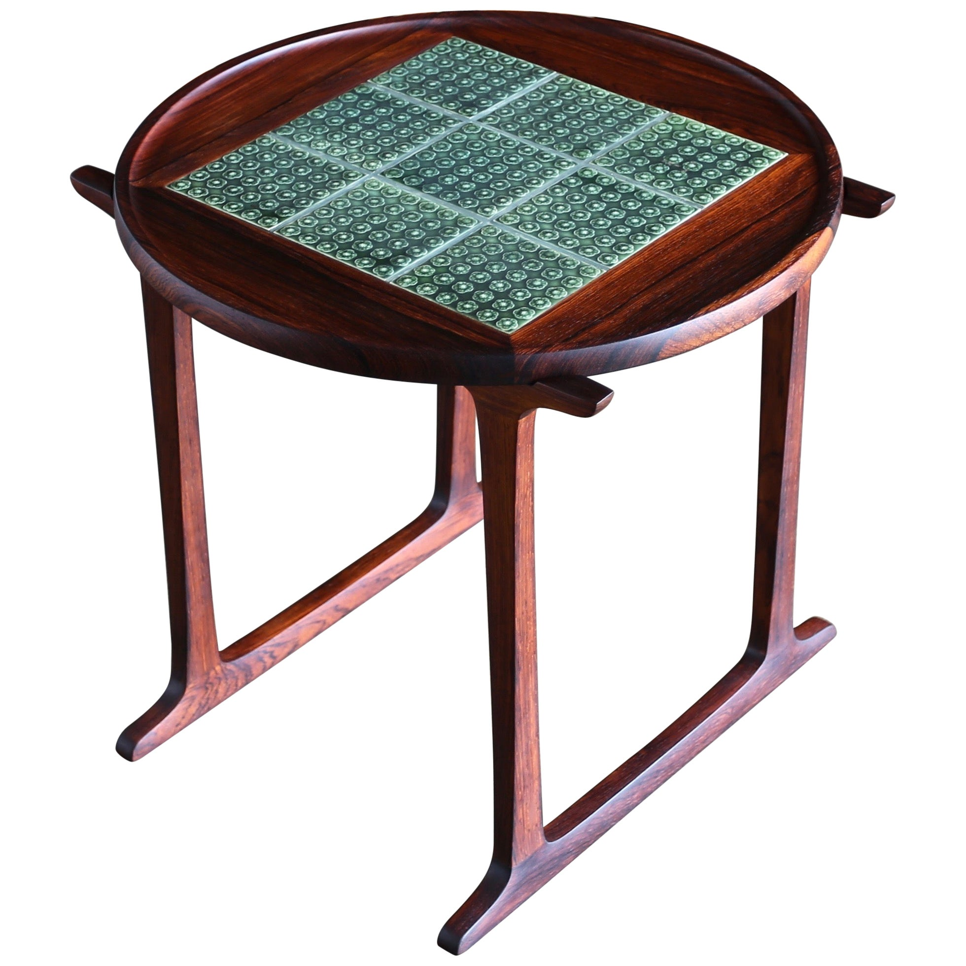 Jens Quistgaard Rosewood & Tile Side Table for Richard Nissen, circa 1966