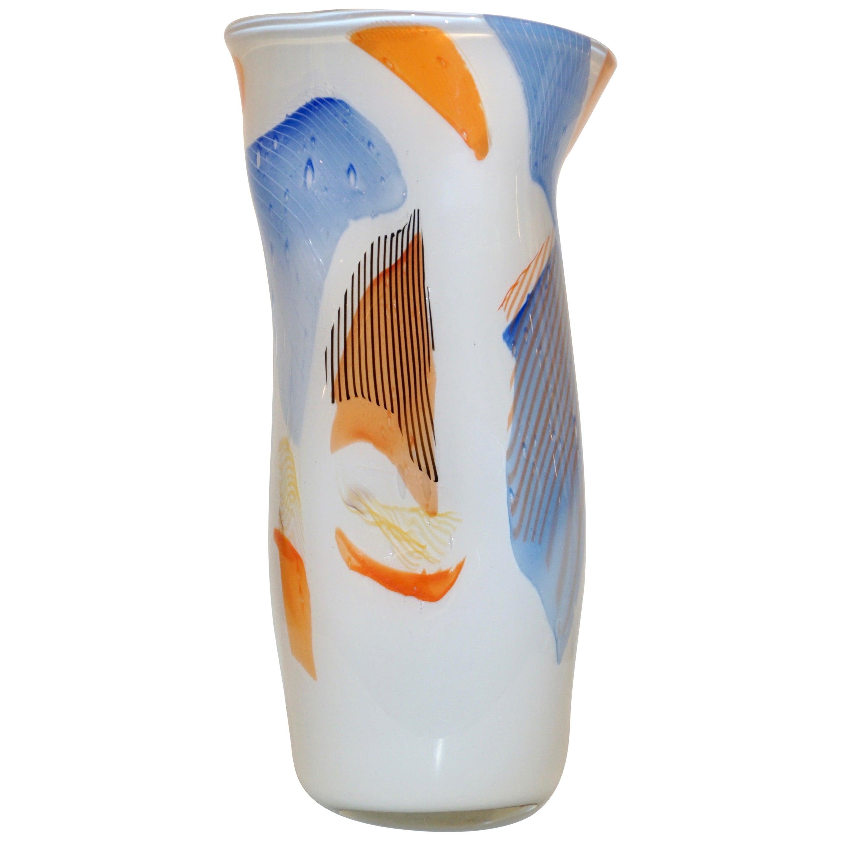 Davide Dona Italian Monumental Freeform White Orange Red Murano Art Glass Vase