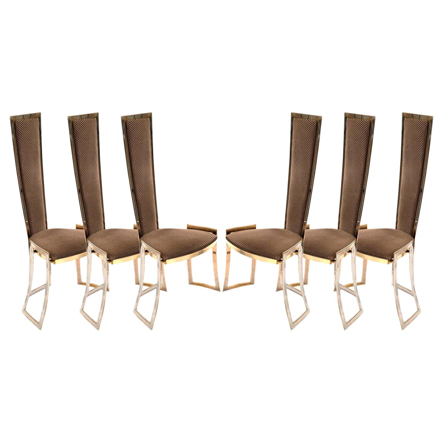 Set of Six High Backed Italian Mid-Century Modern Chairs, circa 1960