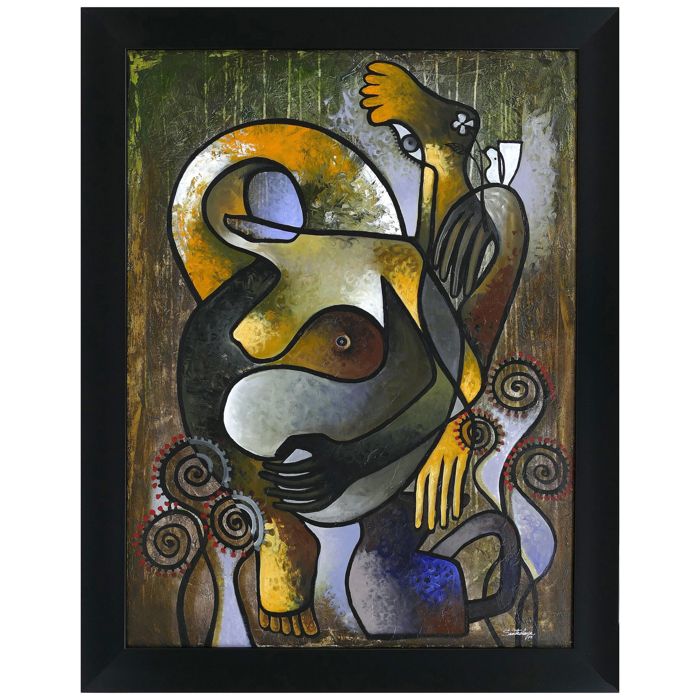 """Abstract Painting by Cuban Artist Hiremio Santaolaya """"Autocontemplacion"""", 2019"""