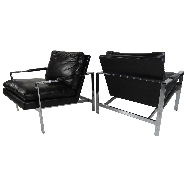Pair of Vintage Modern Milo Baughman Lounge Chairs for Thayer Coggin