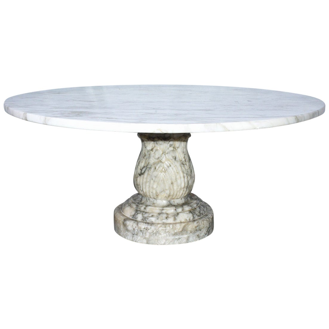 Round Marble Top Coffee Table with Carved Marble Base