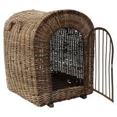 English Brown Wicker Dog Kennel Basket